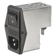 FKI IEC Appliance Inlet C14 with Filter, Fuseholder 2-pole, Line Switch 2-pole
