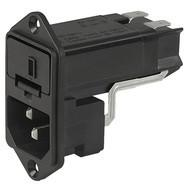 KEC IEC connector C14 with fuse holder 1- or 2-pole Screw-on mounting from front side en IM0005488