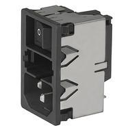 KM IEC connector C14 or C18 with EMC shielding Snap-in mounting from front side en IM0005609