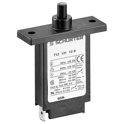 T12-121 Circuit Breaker for Equipment thermal, Flange type, Manual ON/OFF, Quick connect terminals