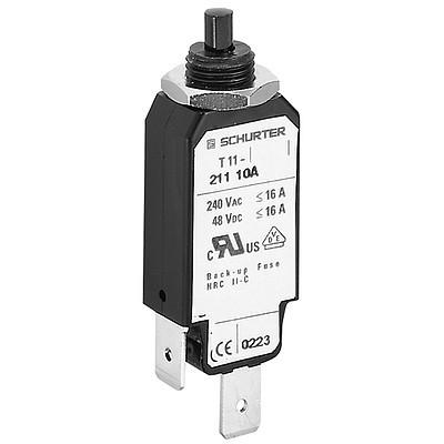 T11-214 Circuit Breaker for Equipment thermal, Threaded neck type, Reset type, Quick connect terminals