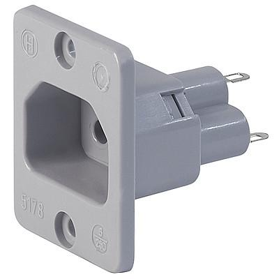 5178 IEC Appliance Outlet 6A 2- or 3-pole, Screw-on Mounting, Front Side, Solder Terminal