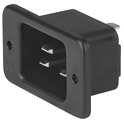 1621 IEC Appliance Inlet C20, Screw-on Mounting, Front Side, Solder, Quick-connect or Screw Terminal