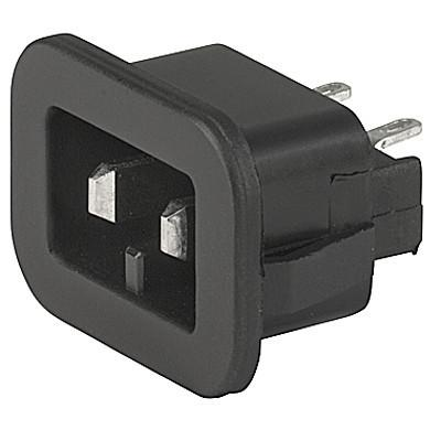 1201-A Appliance inlet for low voltage, Snap-in Mounting, Front Side, Solder or Quick-connect Terminal