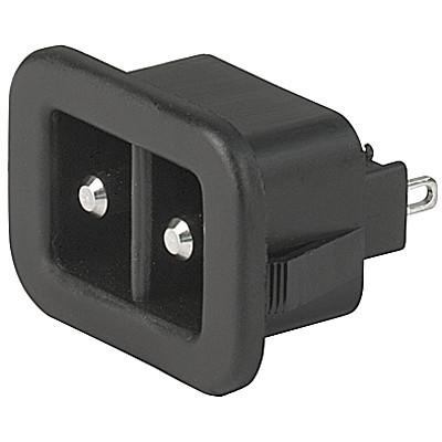 1200 Appliance inlet for low voltage, Snap-in Mounting, Front Side, Solder or Quick-connect Terminal