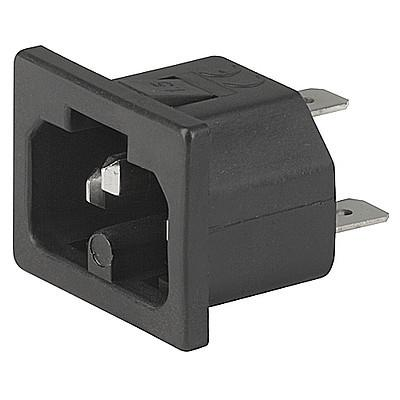0184 IEC Appliance Inlet C16A, Snap-in Mounting, Front Side, Quick-connect or Screw-on Terminal