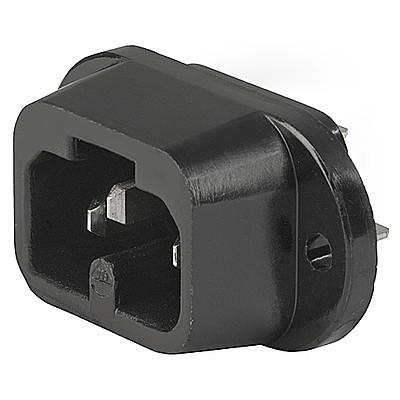 0183 IEC Appliance Inlet C16A, Screw-on Mounting, Front or Rear Side, Quick-connect or Screw-on Terminal