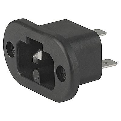 0181-A IEC Appliance Inlet C16A, Screw-on Mounting, Front Side, Quick-connect or Screw-on Terminal
