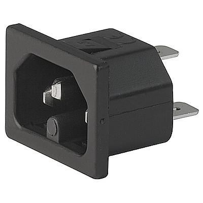 0165 IEC Appliance Inlet C16, Snap-in Mounting, Front Side, Quick-connect Terminal