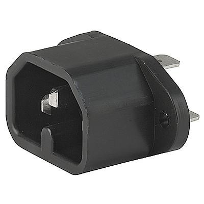 0163 IEC Appliance Inlet C16, Screw-on Mounting, Front or Rear Side, Quick-connect or Screw-on Terminal