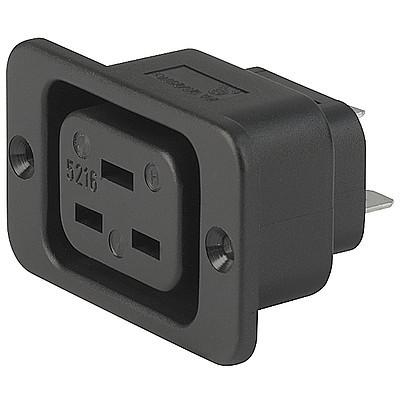 5216 IEC Appliance Outlet J, Screw-on Mounting, Front Side, Quick-connect Terminal