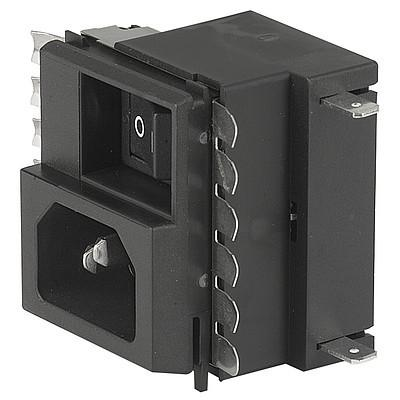 "GRM2 IEC Appliance Inlet C14 with Line Switch, Fuseholder 1- or 2-pole, Voltage Selector (series-parallel), ""Lock and Shield"" Mounting,"