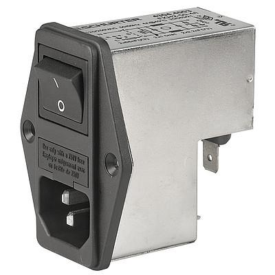 FKH IEC Appliance Inlet C14 with Filter, Fuseholder 1-pole, Line Switch 2-pole