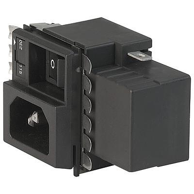 "GRM4 IEC Appliance Inlet C14 with Filter, Fuseholder 1-or 2-pole, optional Voltage Selector (Series-Parallel), ""Lock and Shield"" Mounting"