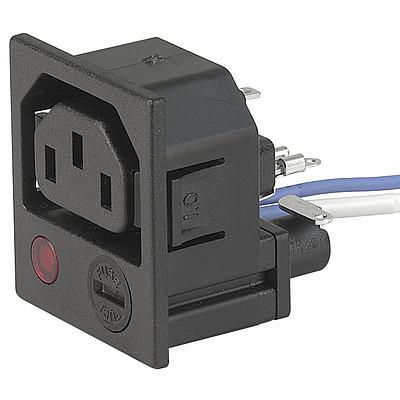 4719 IEC appliance outlet F closed with fuseholder Snap-in mounting from front side with neon indicator en IM0005478