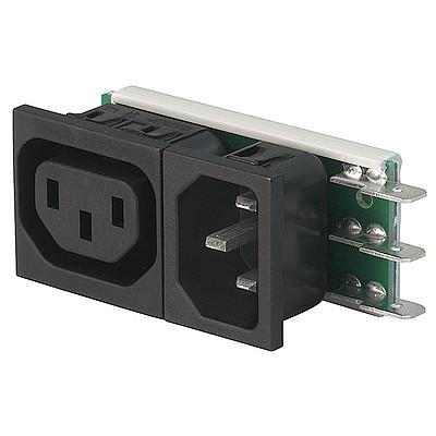Felcom 64 IEC C14 device plug with modular expandable components Snap-in version from front side en IM0005481