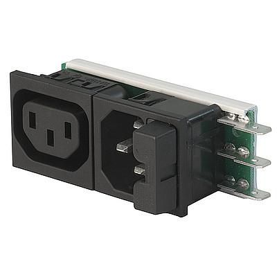 Felcom 64 IEC C14 device plug with modular expandable components Snap-in version from front side