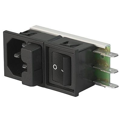 Felcom 64 IEC C14 device plug with modular expandable components Snap-in version from front side en IM0005493