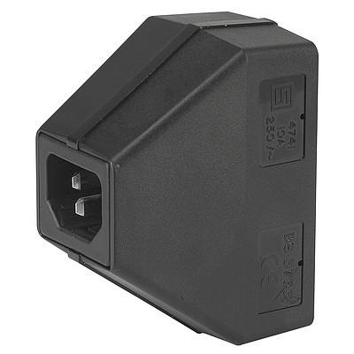 4741 Power cord with 1 IEC connector C14 and 2 appliance outlets F shuttered from rear side en IM0005524