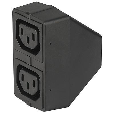 4741 Power cord with 1 IEC connector C14 and 2 appliance outlets F shuttered from front side en IM0005533