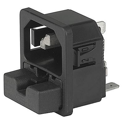 6220 IEC connector C14 with fuse holder 2-pole Snap-in mounting from front side Solder or quick connect terminals en IM0005589