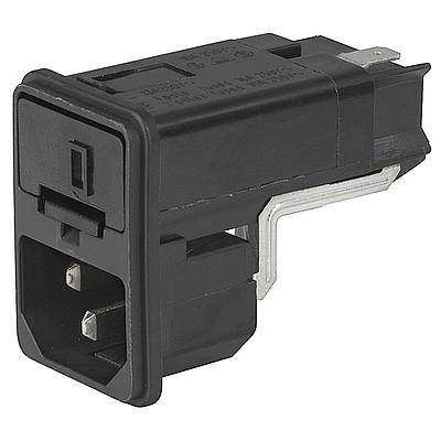 KEC IEC connector C14 with fuse holder 1- or 2-pole with voltage selector Snap-in mounting from front side en IM0005595