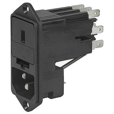 KE IEC connector C14 with fuse holder 1- or 2-pole Screw-on version from front or rear side with voltage selector en IM0005652