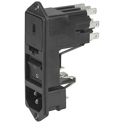 KG IEC connector C14 with fuse holder 1- or 2-pole with voltage selector and line switch 2-pole Screw-on version from front or rear side en IM0005653