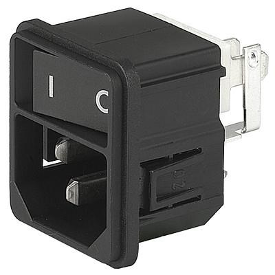 KEB1 IEC connector C14 with line switch 1-pole Snap-in mounting from front side non-illuminated  black en IM0005663