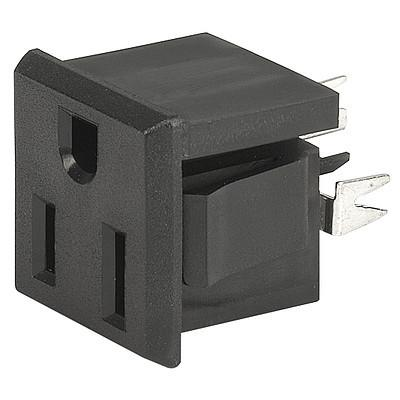 0709-1 0709-1 - NEMA Line Outlet 5-15R  snap-in mounting from frontside  V-Slot terminal en IM0005899