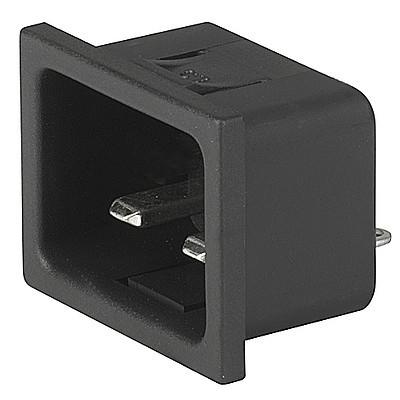 4794 IEC Appliance Inlet C24, Snap-in Mounting, Front Side, Solder or Quick-connect Terminal