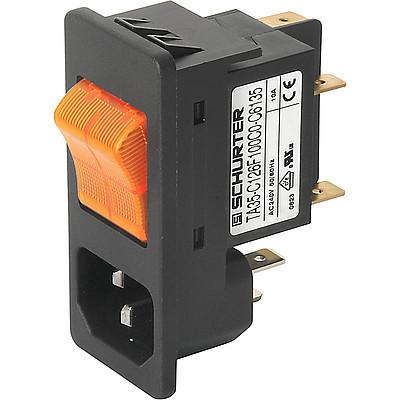 6135 IEC Appliance Inlet C14 with Circuit Breaker TA35 2-pole