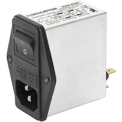 FKID IEC Appliance Inlet C14 with Filter 2-Stage, Fuseholder 2-pole, Line Switch 2-pole