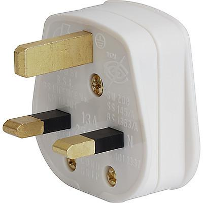 1363 UK Power (Mains) Plug, Cord Connector (Rewireable), 3 pole, Angled