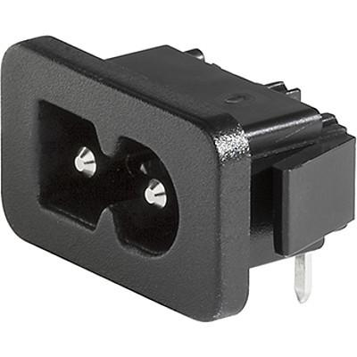 2579 IEC Appliance Inlet C8 polarized, Snap-in Mounting, Front Side, Solder, Quick Connect or PCB Terminal