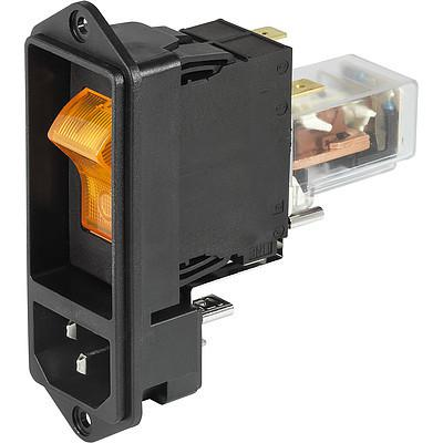 DF11 IEC Appliance Inlet C14 or C18 with recessed Circuit Breaker TA45