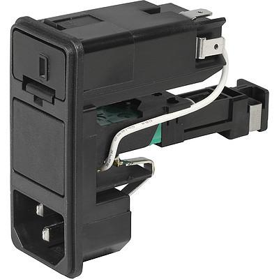 KD-Bowdencable IEC Appliance Inlet C14 with Fuseholder 1- or 2-pole, Bowden-Line Switch 2-pole and Voltage Selector