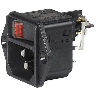 DC11 IEC Appliance Inlet C14 or C18 with Line Switch 1- or 2-pole